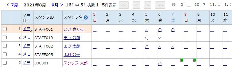 カレンダーでスタッフの予定を確認