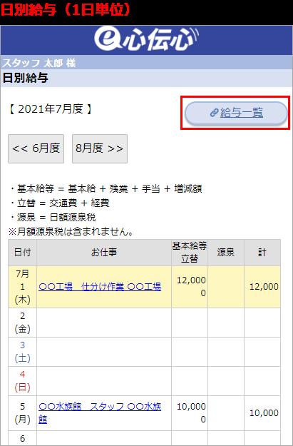 日別給与の画面